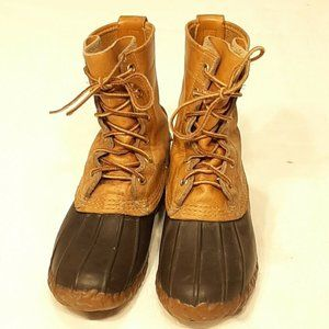 LL Bean Duck Boots: Tan & Brown, Women's Size 5